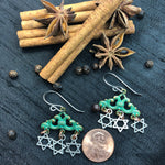 Load image into Gallery viewer, Funky Green and Silver Star of David earrings