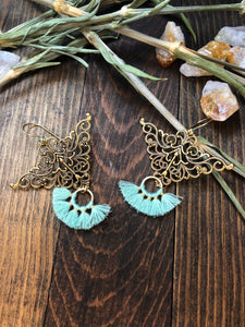 Brass and Mint Tassel earrings