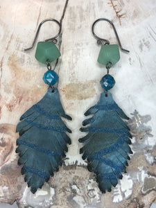 Sterling Silver Leather Feather Earrings with Aventurine and Apatite