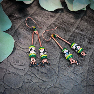 Peruvian ceramics, copper, and Swarovski earrings