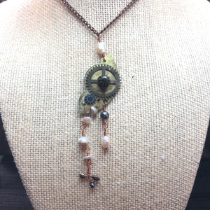Vintage pocket watch and Pearl necklace