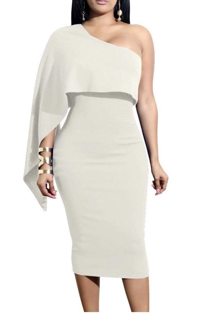 One Shoulder Drape Dress