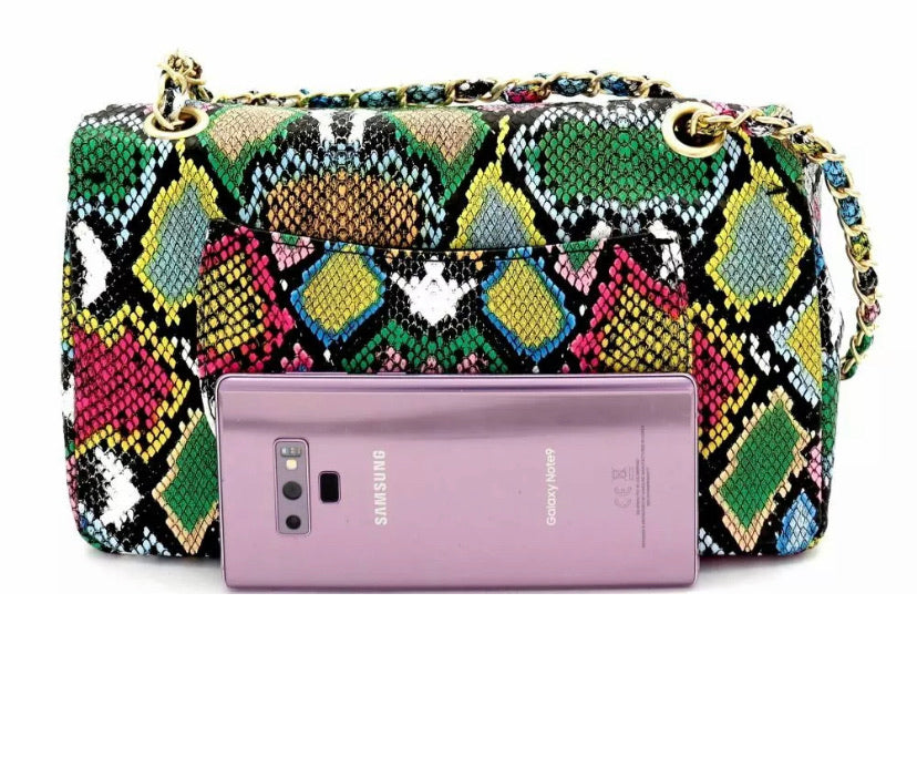 Multi Color Snake Flap Bag