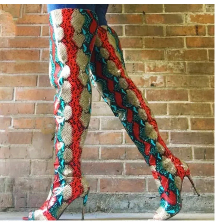 Multi Color Snakeskin Thigh Boots