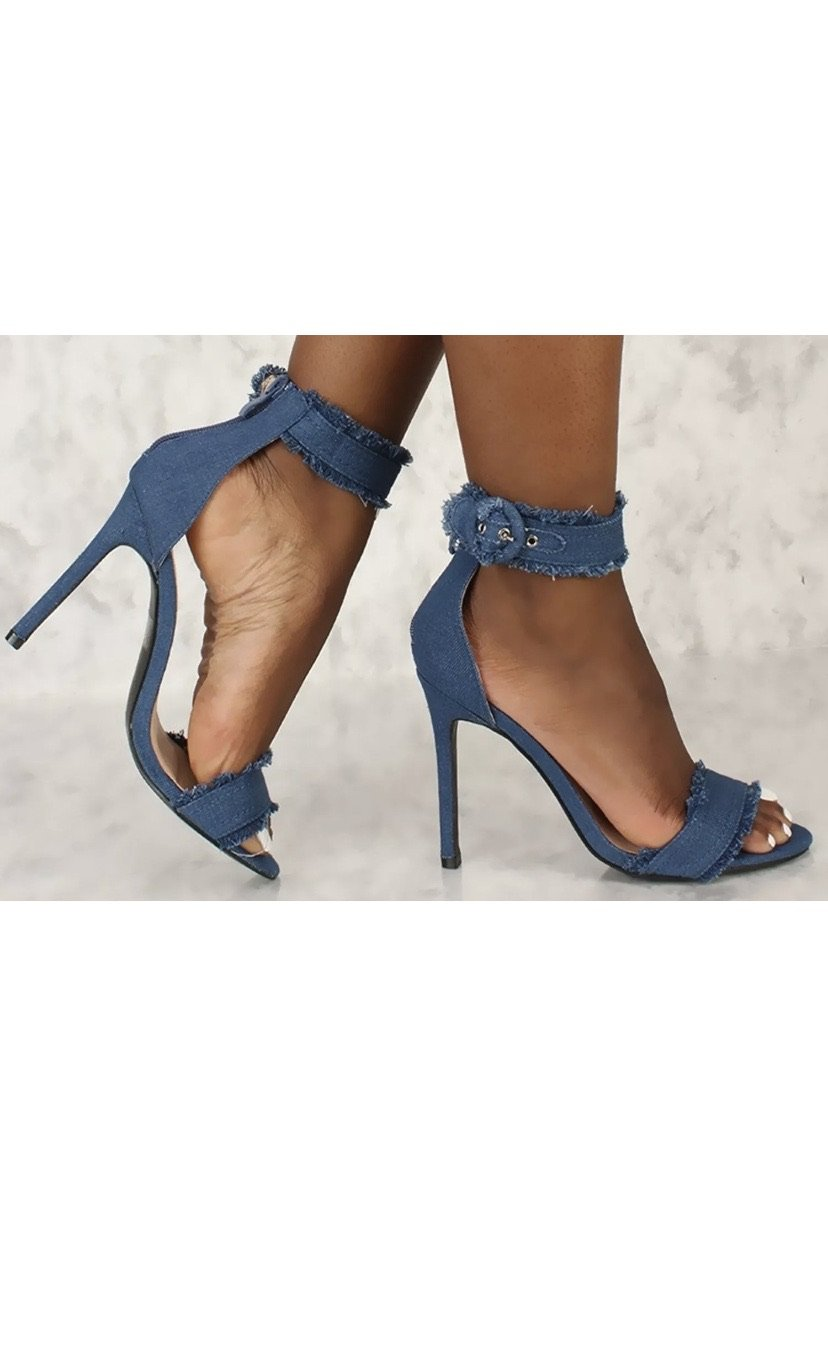 Denim Frayed Heels