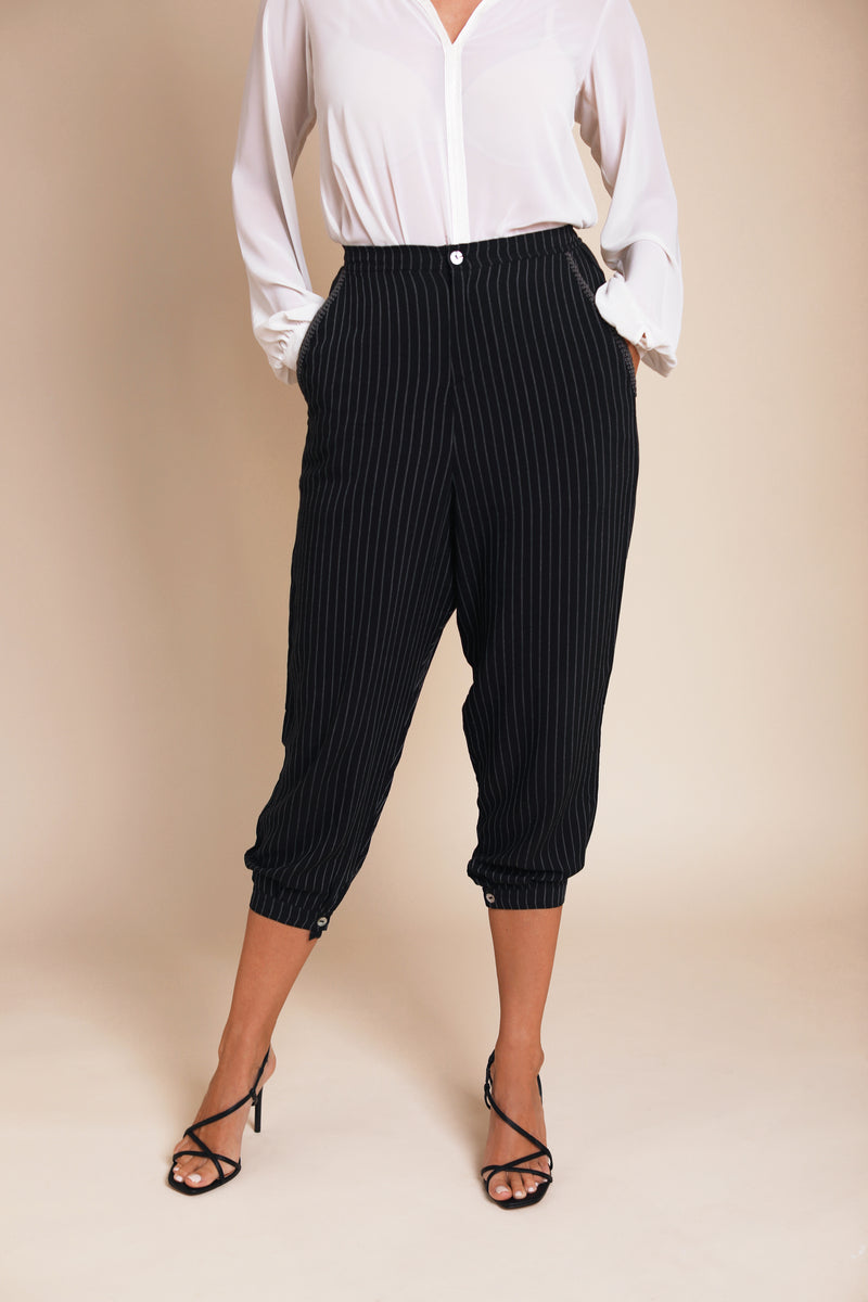 Pinstriped Pants Bynes New York embroidered details