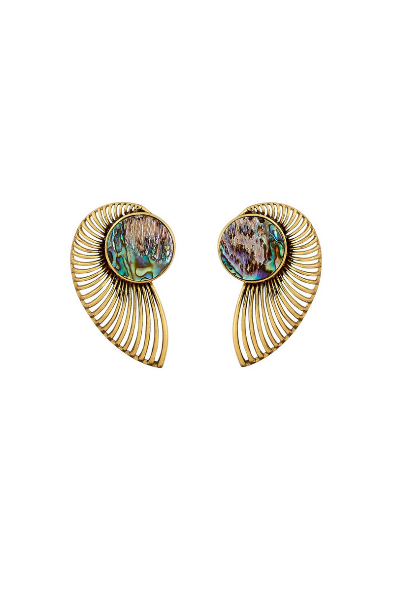 Bynes New York Abalone Shell Gold Earrings