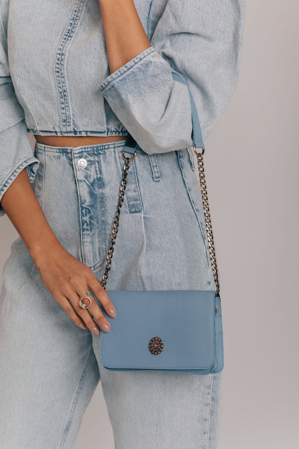blue sky leather crossbody bag bynes new york