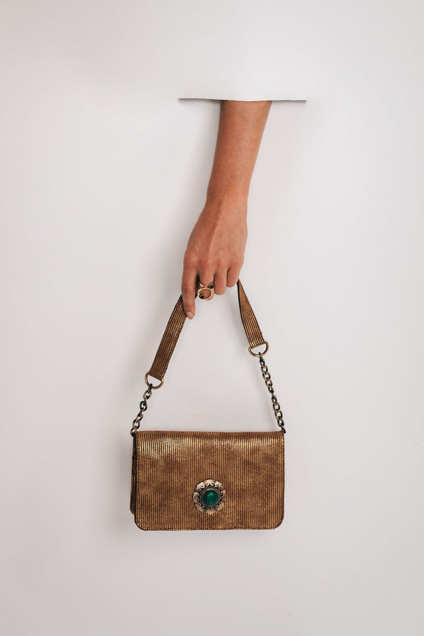 Crossbody leather bag gold bynes new york