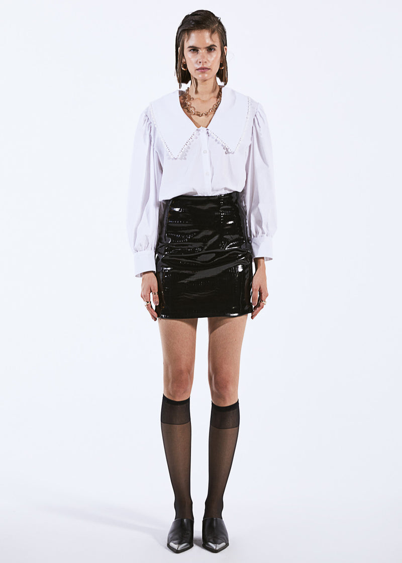 Croc Vegan Leather A-Line Mini Skirt