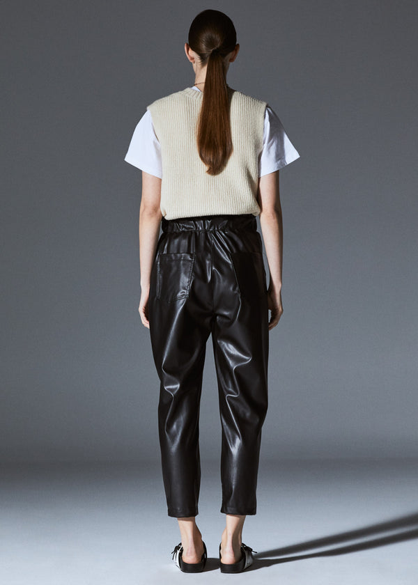 Black Leather Baggy Pants