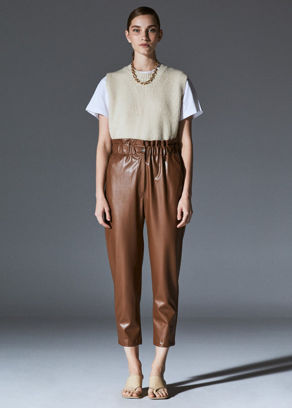 Brown Faux Leather Baggy Pants