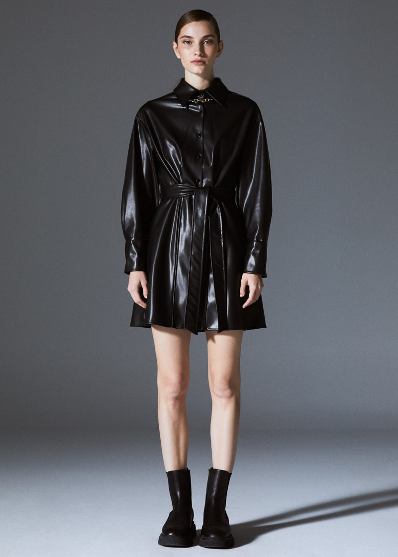 Faux Leather Belted Mini Shirt Dress