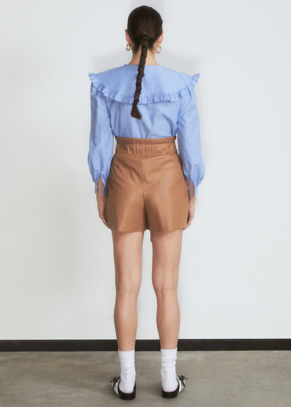 Camel Faux Leather Belted Short