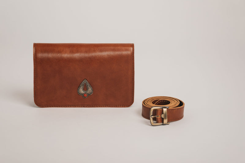brown leather 3-in-1 beltbag
