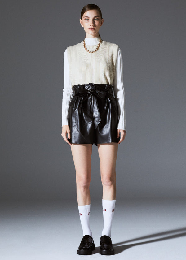 Faux Leather Belted Short