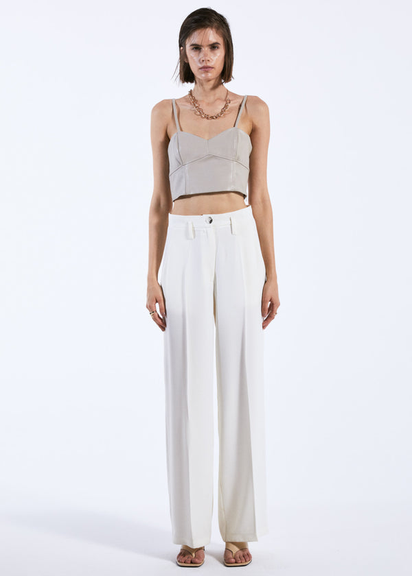 Off-white Leather Crop Top