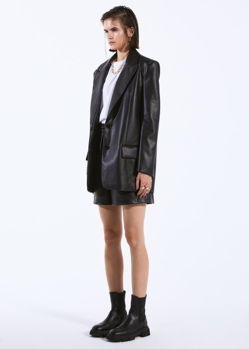 Oversize Leather Blazer