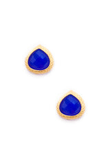 Deep Blue Chalcedony Post Earrings
