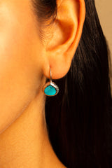 Amazon Teal Miniature French Wire Earrings 10mm