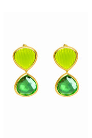 Avocado Carved Quartz and Amazon Green Double Faceted Earrings