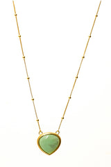 Chrysoprase Stone Pendant Necklace 20mm