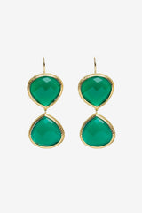 Green Onyx Double Faceted Earrings