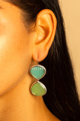 Carved Peruvian Opal and Pale Green Chalcedony Double Faceted Earrings