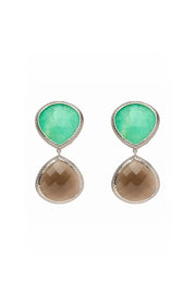 Chrysoprase and Smoky Quartz Double Faceted Earrings