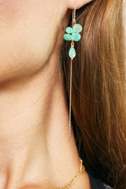 Chrysoprase & Peruvian Opal Teardrops Faceted Earrings