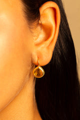 Citrine Quartz Miniature French Wire Earrings 10mm