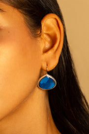 Deep Blue Chalcedony French Wire Earrings 20mm