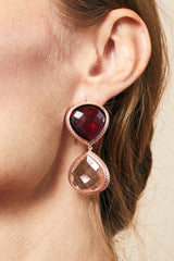 Red Cranberry Quartz and Peach Quartz Double Faceted Earrings