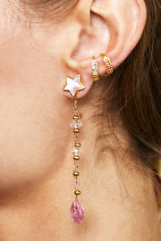 Semiprecious Stones Statement Star Earrings