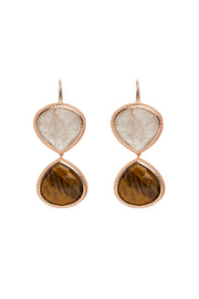 Golden Rutilated Quartz and Tiger Eye Double Faceted Earrings