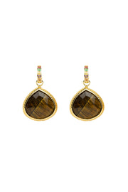 Huggie Charm Tiger's Eye Earrings 20mm