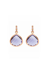 Huggie Iolite Quartz Earrings Rose Gold 20mm