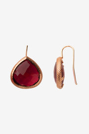 Raspberry Red Quartz French Wire Earrings 20mm