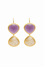 Purple Quartz and Golden Rutilated Quartz Double Faceted Earrings