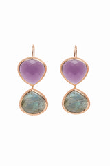 Purple Quartz and Labradorite Double Faceted Earrings