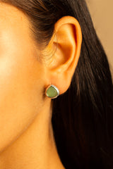 Green Chalcedony Post Earrings