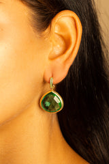 Huggie Amazon Green Quartz Earrings 20mm