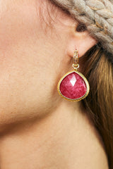 Huggie Red Quartz Charm Earrings 20mm