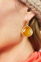 Huggie Yellow Chalcedony Earrings 20mm