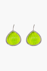 Avocado Carved Quartz French Wire Earrings 20mm