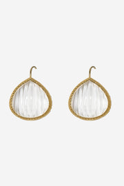 Clear Carved Quartz French Wire Earrings 20mm