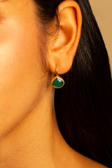 Green Onyx miniature French wire earring 10mm