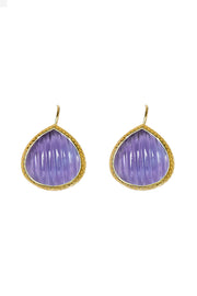 Iolite Carved Quartz French Wire Earrings 20mm