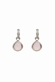 Mini Huggie Rose Quartz Earrings 10mm