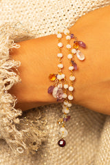 Moonstone & Amethyst Beaded Bracelet